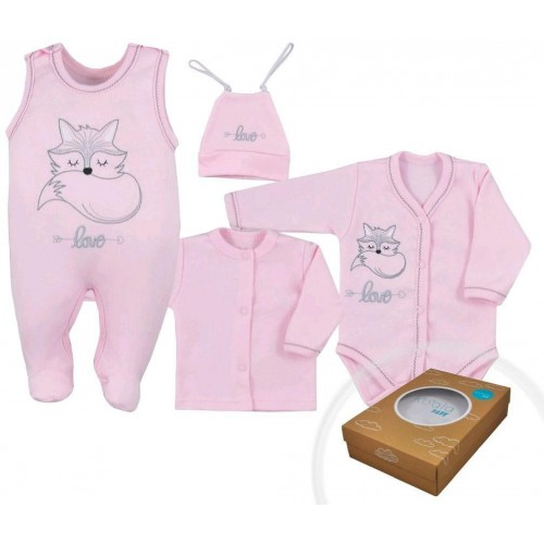 4-dílná kojenecká souprava Koala Fox Love růžová Růžová 56 (0-3m)