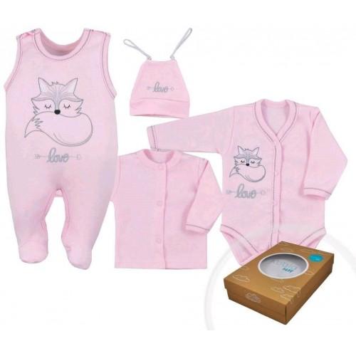 4-dílná kojenecká souprava Koala Fox Love růžová Růžová 68 (4-6m)