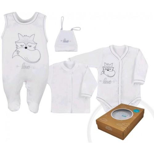 4-dílná kojenecká souprava Koala Fox Love bílá Bílá 50