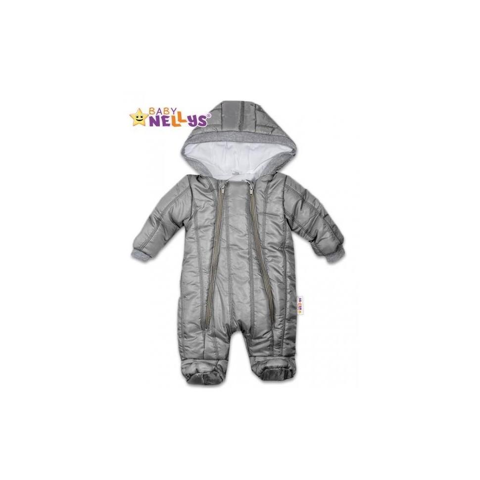 Kombinézka s kapuci Lux Baby Nellys ®prošívaná - šedá, vel. 74, 74 (6-9m)