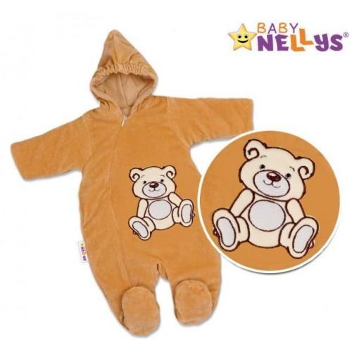 BABY NELLYS Kombinézka/overálek Teddy Bear - tm. hnědá, 56 (1-2m) ,62 (2-3m)