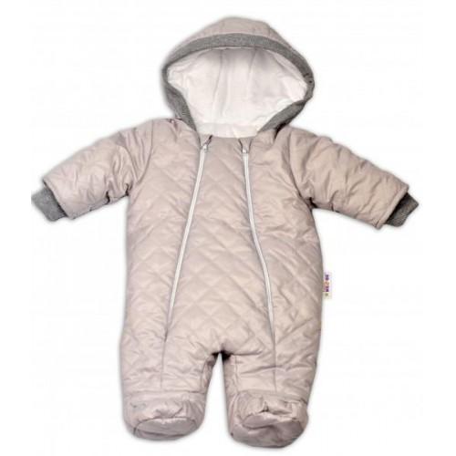 Kombinézka s kapuci Lux Baby Nellys ®prošívaná/kostičky - sv. šedá, 56 (1-2m)