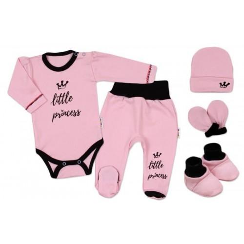 Baby Nellys 5-ti dílná soupravička do porodnice Princess, vel. 62 - růžová, 62 (2-3m)