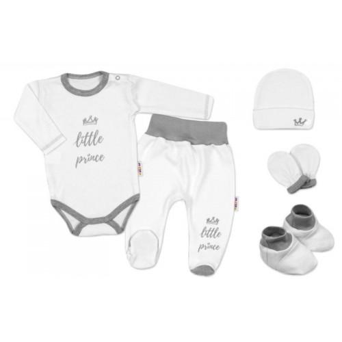 Baby Nellys 5-ti dílná soupravička do porodnice Princ - bílá, 56 (1-2m)