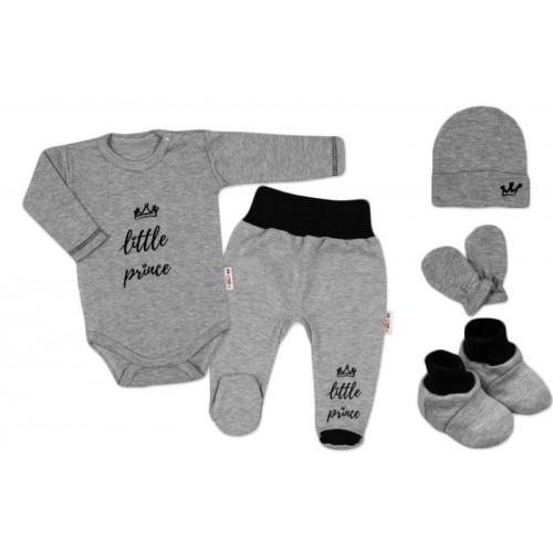 Baby Nellys 5-ti dílná soupravička do porodnice Princ - šedá, 56 (1-2m)