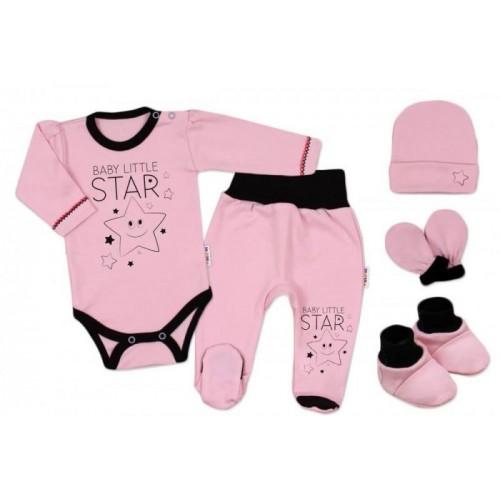 Baby Nellys 5-ti dílná soupravička do porodnice Baby Little Star - růžová, K19, 56 (1-2m)