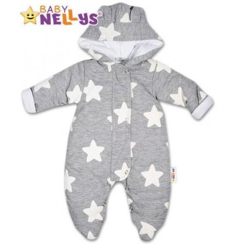 Kombinézka s kapuci a oušky Stars Baby Nellys ® , vel. 68, 68 (4-6m)