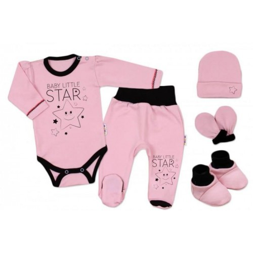 Baby Nellys 5-ti dílná soupravička do porodnice Baby Little Star - růžová, vel. 62, K19, 62 (2-3m)