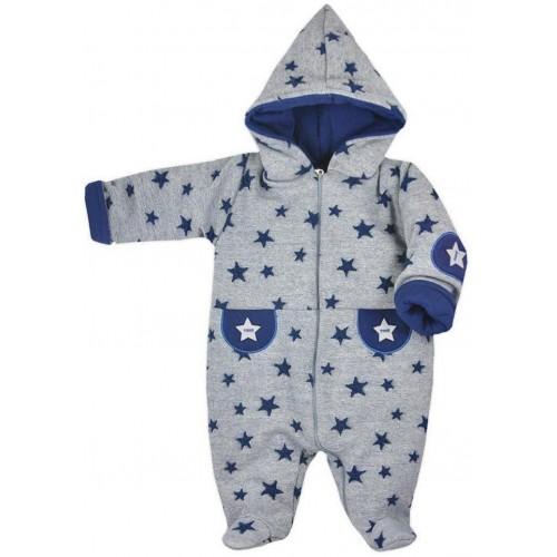 Zimní kojenecká kombinéza Koala Nelly šedo-modrá Šedá 74 (6-9m)