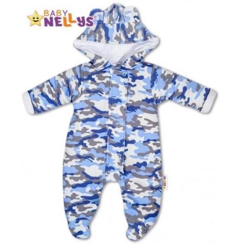 Kombinézka s kapuci a oušky ARMY Baby Nellys ® maskač blue, 56 (1-2m)