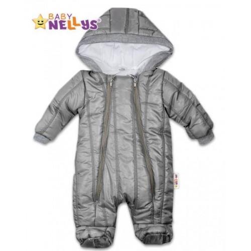 Kombinézka s kapuci Lux Baby Nellys ®prošívaná - šedá, vel. 68, 68 (4-6m)