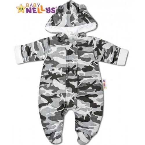 Kombinézka s kapuci a oušky Army Baby Nellys ® maskač šedý, 56 (1-2m)