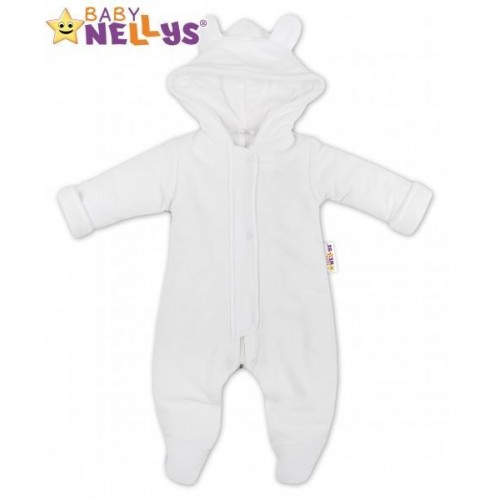 Oteplený overálek/kombinézka s kapuci a oušky Baby Nellys ® - bílý, vel. 74, 74 (6-9m)