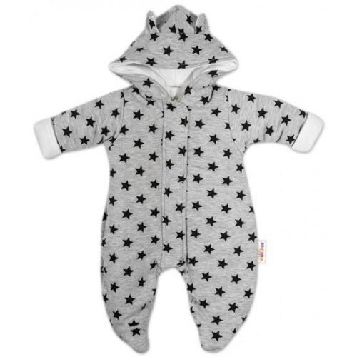 Kombinézka s kapucí a oušky Hvězdičky Baby Nellys ® - šedá/tm. modrá, vel. 62, 62 (2-3m)
