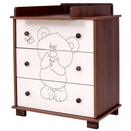 Dětská komoda Drewex Malý medvídek a motýlek ořechová