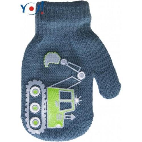 YO !  Kojenecké chlapecké akrylové  rukavičky YO - jeans, 13-14cm rukavičky