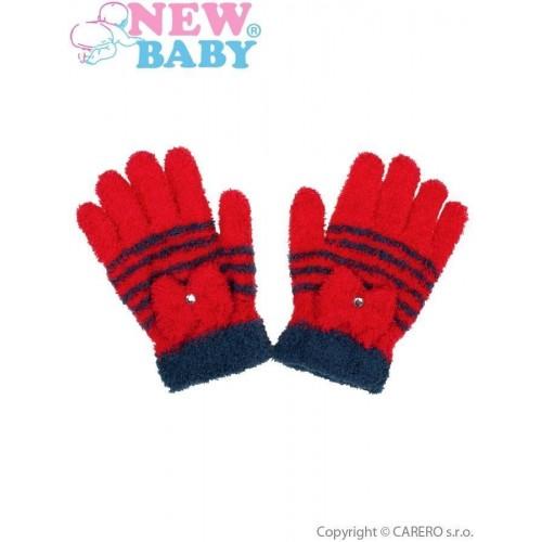 Dětské zimní froté rukavičky New Baby červené Červená 110 (4-5r)