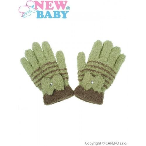 Dětské zimní froté rukavičky New Baby olivové Zelená 110 (4-5r)