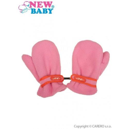 Dětské zimní rukavičky New Baby fleecové růžové Růžová 104 (3-4r)