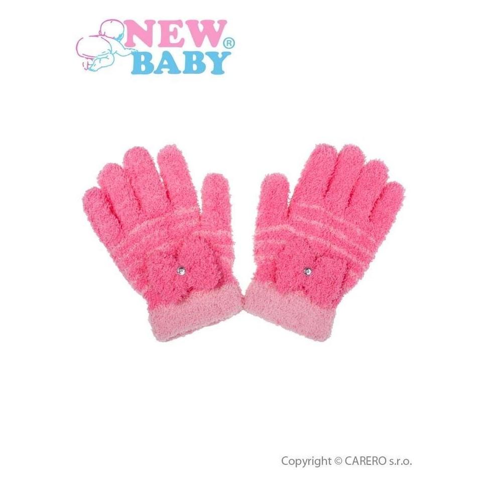 Dětské zimní froté rukavičky New Baby růžové Růžová 110 (4-5r)
