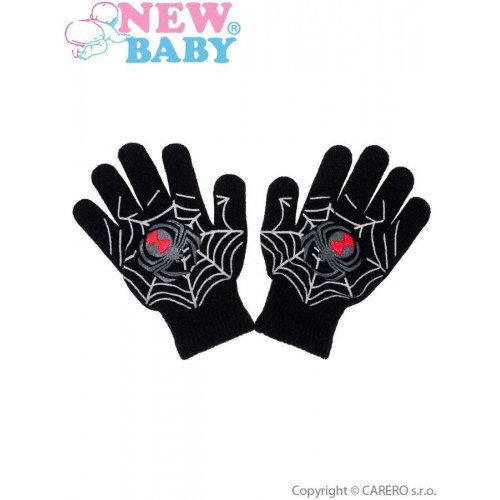 Dětské zimní rukavičky New Baby s pavoukem černé Černá 110 (4-5r)