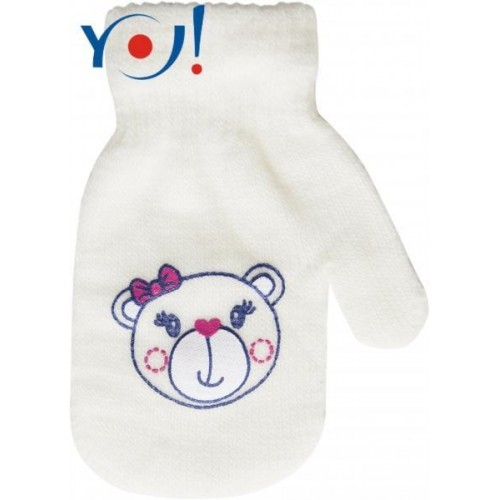 YO !  Kojenecké dívčí akrylové  rukavičky YO - smetanové, vel. 13-14cm, 13-14cm rukavičky