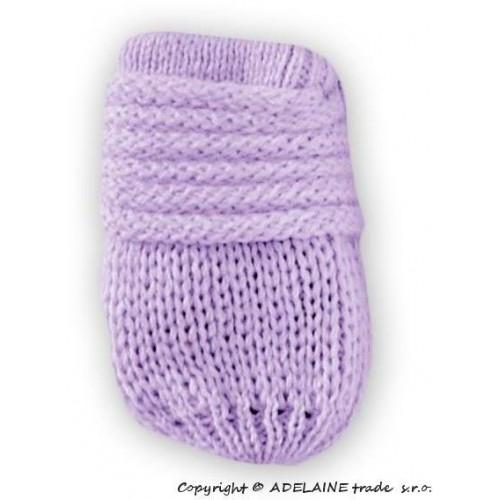 BABY NELLYS Zimní pletené  kojenecké rukavičky - lila, 0-1rok