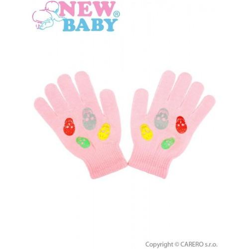 Dětské zimní rukavičky New Baby Girl světle růžové Růžová 122 (6-7 let)