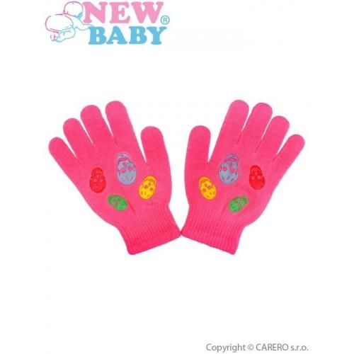 Dětské zimní rukavičky New Baby Girl tmavě růžové Růžová 122 (6-7 let)