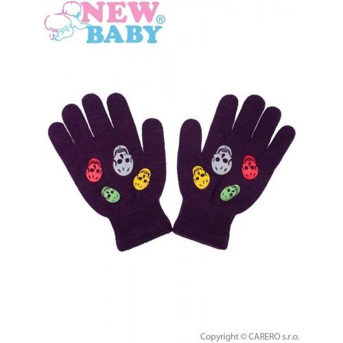 Dětské zimní rukavičky New Baby Girl fialové Fialová 122 (6-7 let)