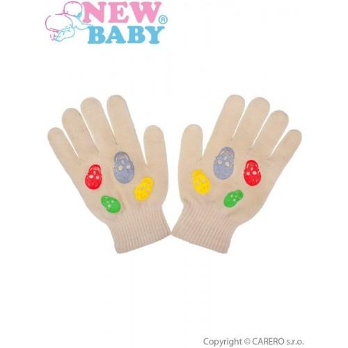 Dětské zimní rukavičky New Baby Girl béžové Béžová 122 (6-7 let)