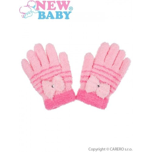 Dětské zimní froté rukavičky New Baby světle růžové Růžová 110 (4-5r)