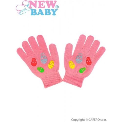 Dětské zimní rukavičky New Baby Girl malinové Růžová 122 (6-7 let)