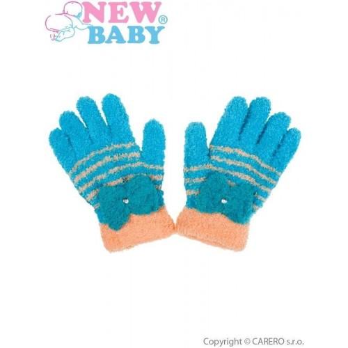 Dětské zimní froté rukavičky New Baby modro-oranžové Modrá 110 (4-5r)