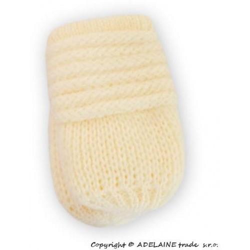 BABY NELLYS Kojenecké rukavičky pletené, zimní - smetana, 12cm rukavičky