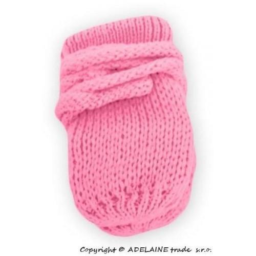 BABY NELLYS Zimní pletené  kojenecké rukavičky - růžové, 86 (12-18m)