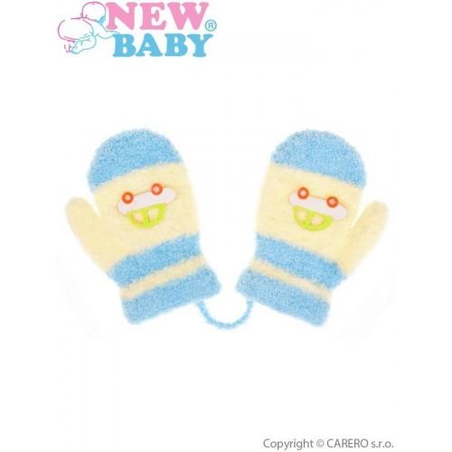 Dětské rukavičky New Baby s autem světle modro-žluté Modrá 80 (9-12m)
