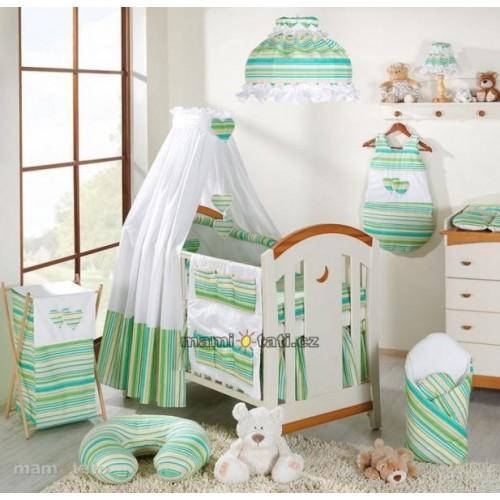 Mamo Tato Krásný volánek pod matraci - Proužek zelený, 120x60