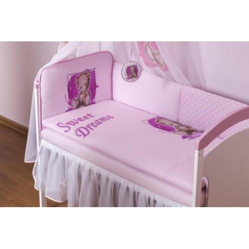 BABY NELLYS Šifónový volánek Sweet Dreams by Teddy - bílý, 120x60