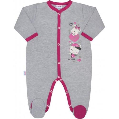 Dětský overal New Baby Love Mouse Růžová 56 (0-3m)