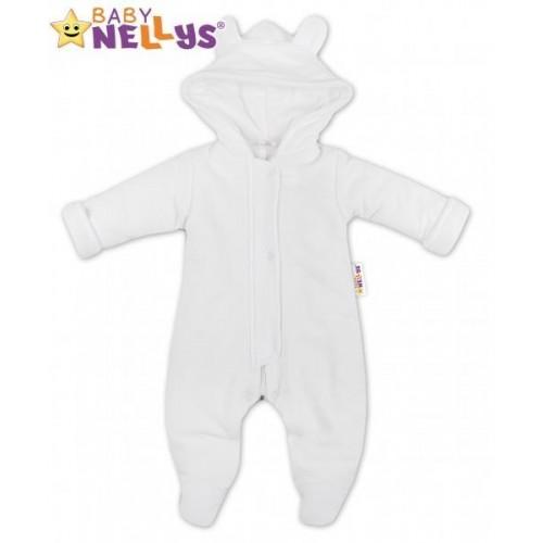 Oteplený overálek/kombinézka s kapuci a oušky Baby Nellys ® - bílý, vel. 68, 68 (4-6m)