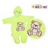 BABY NELLYS Kombinézka/overálek Teddy Bear- zelená, 56 (1-2m) ,62 (2-3m)