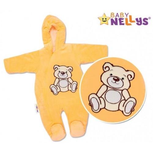 BABY NELLYS Kombinézka/overálek Teddy Bear, velikost: 74 - lososová, 74 (6-9m)