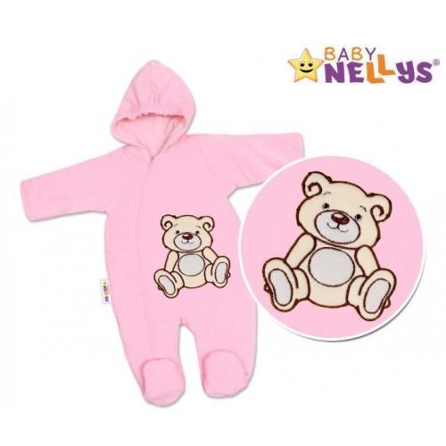 BABY NELLYS Kombinézka/overálek Teddy Bear, velikost: 74 - růžová, 74 (6-9m)