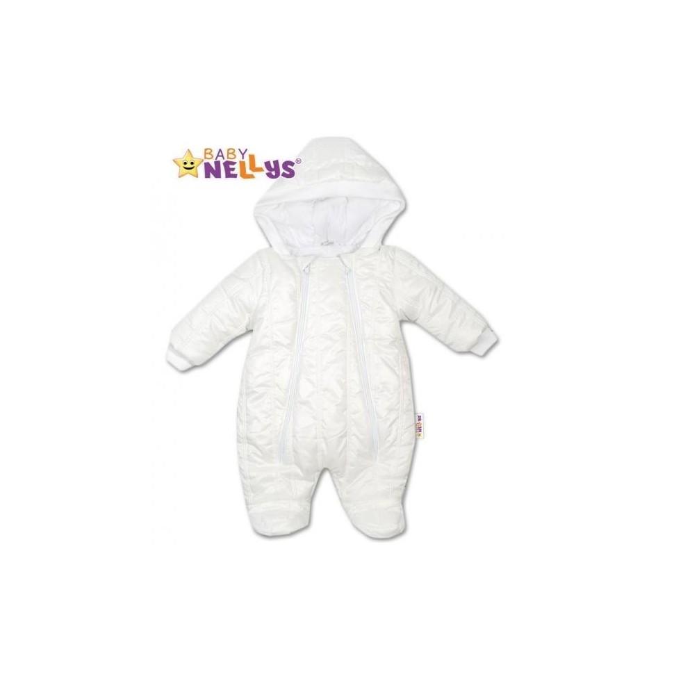 Kombinézka s kapuci Lux Baby Nellys ®prošívaná - bílá, vel. 74, 74 (6-9m)