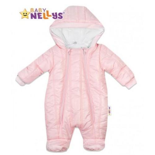 Kombinézka s kapuci Lux Baby Nellys ®prošívaná - sv. růžová, vel. 68, 68 (4-6m)
