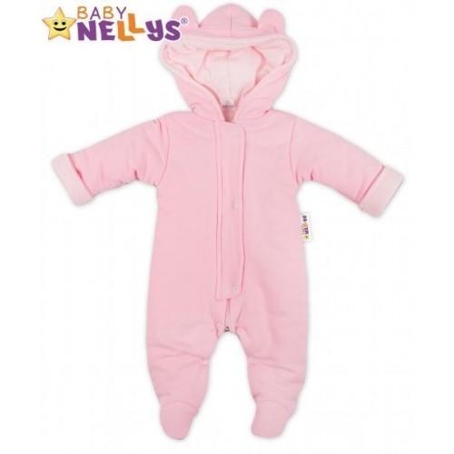 Oteplený overálek/kombinézka s kapuci a oušky Baby Nellys ® - růžový, vel. 68, 68 (4-6m)