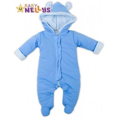 Oteplený overálek/kombinézka s kapuci a oušky Baby Nellys ® - modrý, vel. 62, 62 (2-3m)