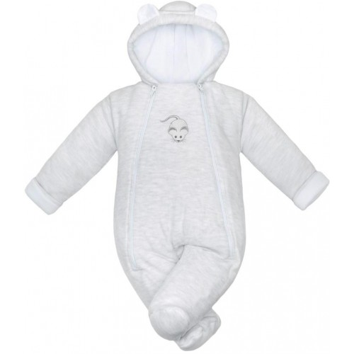 Zimní kojenecká kombinéza Baby Service Mouse světle šedá Šedá 68 (4-6m)