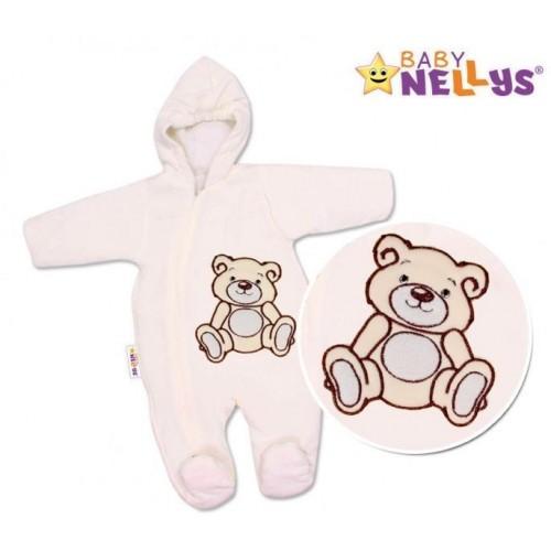 BABY NELLYS Kombinézka/overálek Teddy Bear, velikost: 68  - smetanová, 68 (4-6m)